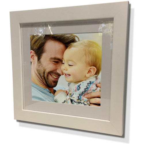 "28x28"" White Frame with White Border (19x19"" Print)"