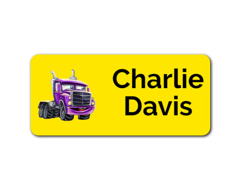 Truck Yellow 48pk Labels - Rectangle