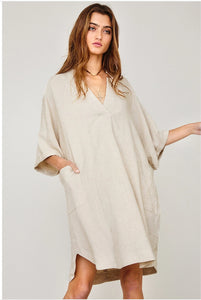 Taupe Linen Shirt Dress