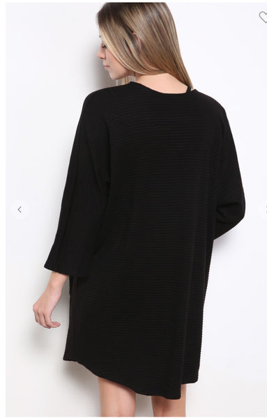 Black Open Sleeve Pocket Cardigan