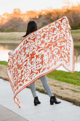 University of Texas Burnt Orange Otomi Inspired Scarf
