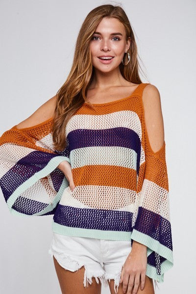 Orange Off the Shoulder Color Block Knit Top