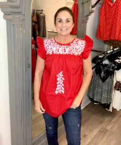 Red Angel Embroidered Top