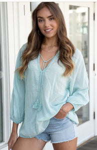 Aqua Green Linen V-Neck Top
