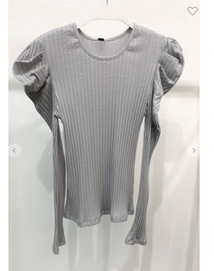 Light Grey Bubble Shoulder Ribbed Top