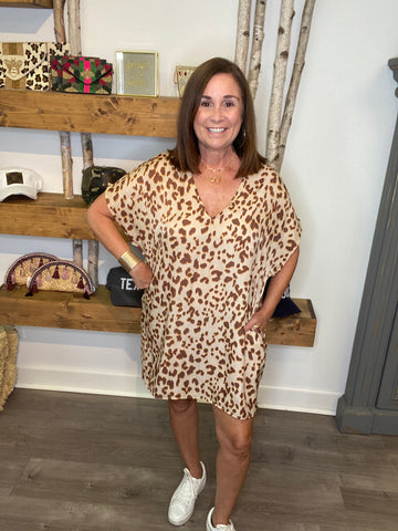 Leopard Satin Tunic Dress