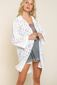 Eyelet Cardigan/Button Down Top
