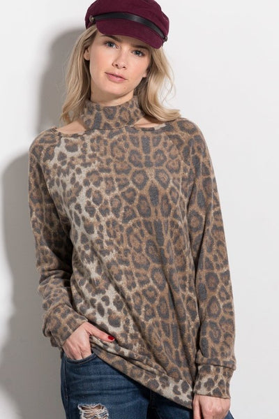 Floating Choker Animal Print Top