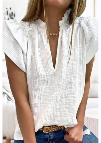 PRE-ORDER White V-Neck Flutter Sleeve Top
