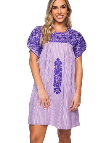 Purple Short Sleeved Embroidered Dress