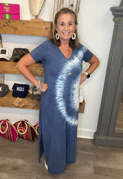 Navy Tie-Dyed Maxi Dress
