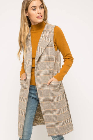Plaid Open Front Long Vest