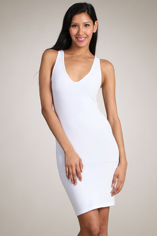 White Sleeveless Tank Dress