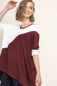 Burgundy /White Hi-Lo Color Block Top