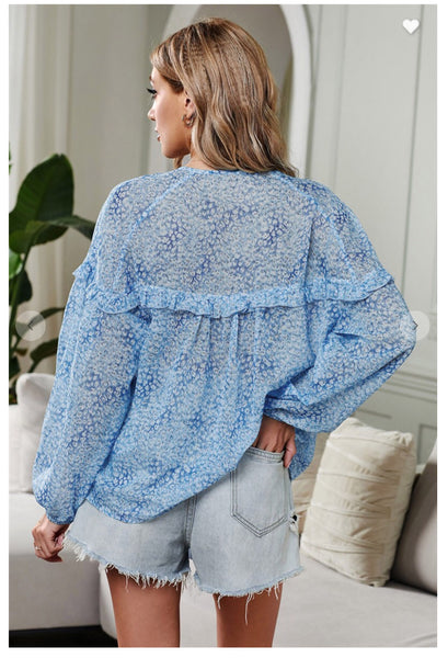 Blue Saint Helena Printed Ruffle Top