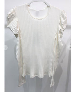 Off-White Bubble Shoulder Ribbed Top