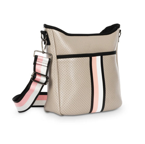 Taupe with Black/White/Blush Stripe Neoprene Crossbody