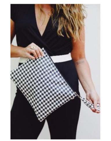 Houndstooth Tassel Tuck Clutch