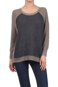 Grey/Taupe Color Block Sweater