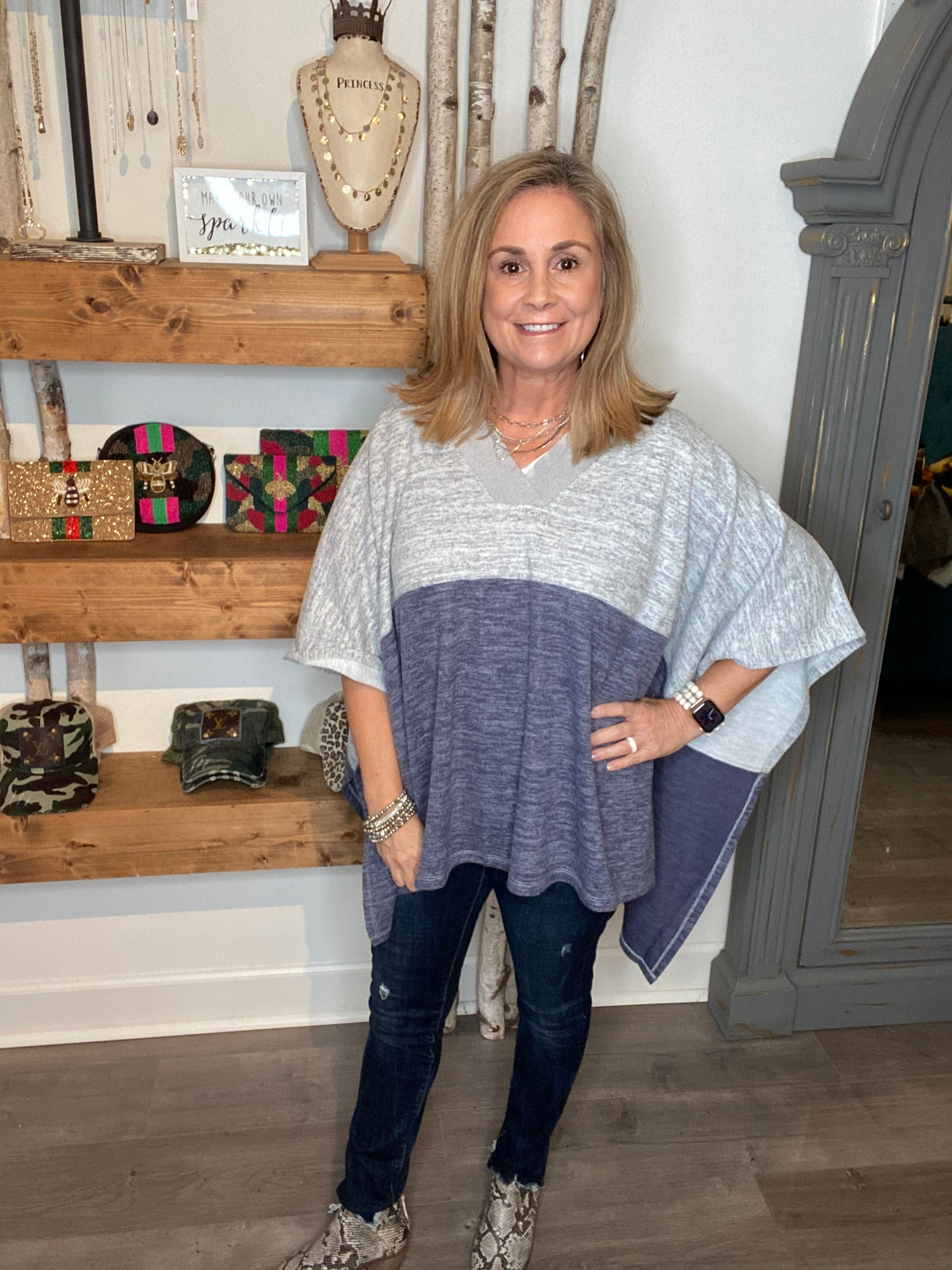 Frayed V Neck Color Block Poncho