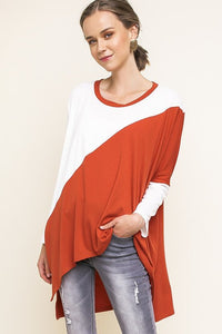 Burnt Orange /White Hi-Lo Color Block Top