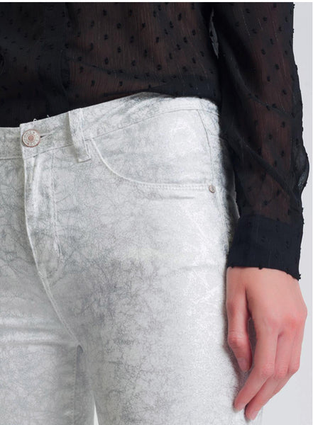 Super Skinny Silver Print Jeans