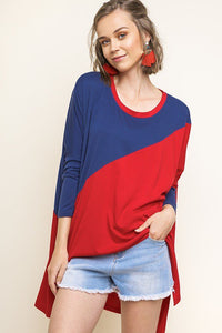 Navy Blue/Crimson Hi-Lo Color Block Top