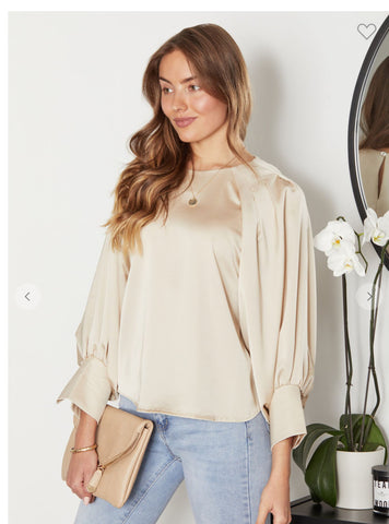 Beige Bubble Sleeve Solid Top