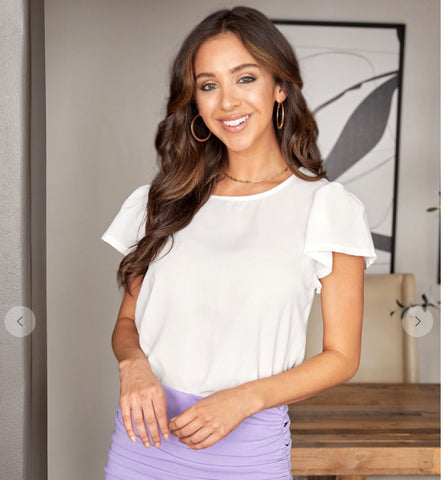 White Ruffle Bell Short Sleeve Top