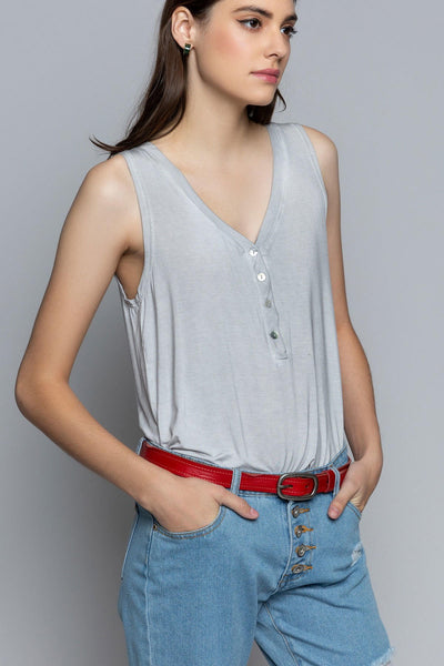Dove Gray knit button tank top