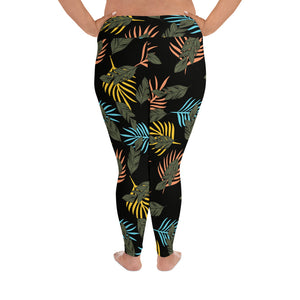 Tropical Black Plus Size Leggings