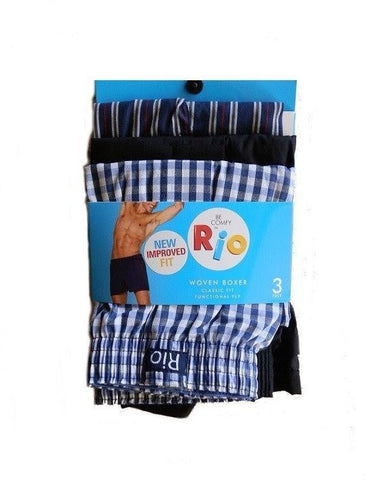 Rio Woven Boxer Shorts - 3 Pack (Blue / Black)