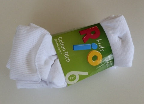 Rio Kids Cotton Rich School Socks 6 Pack