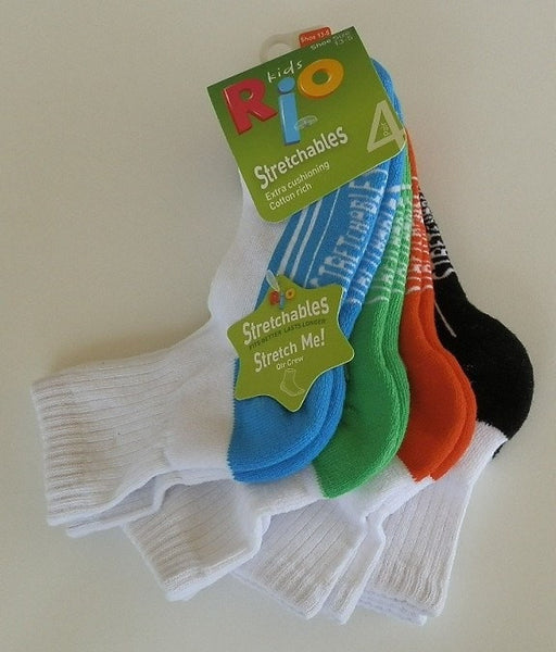 Rio Kids Stretchables Crew Socks 4 Pack