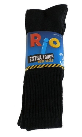 Rio Extra Tough Work Socks - 3 Pack (Black)