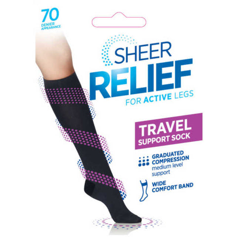 Womens Knee High Support And Gradulated Compression Socks From Sheer Relief - Black