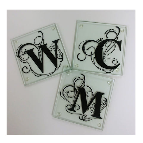 Monogrammed Glass Coaster