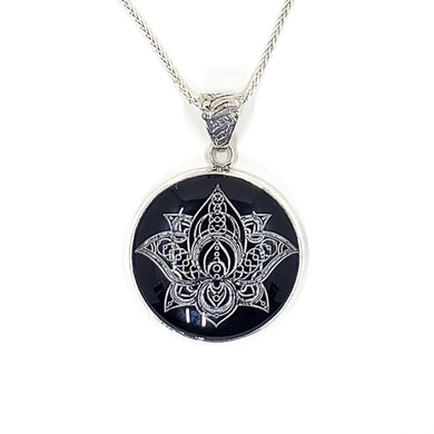 Lotus Black Onyx Pendant