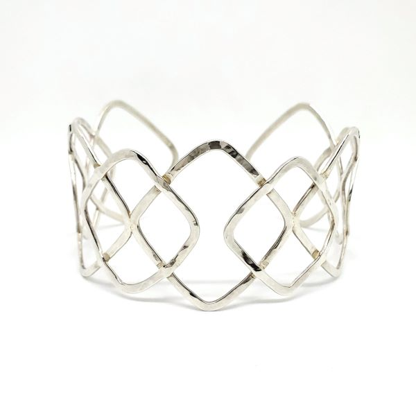 Hammered Diamond Wire Cuff