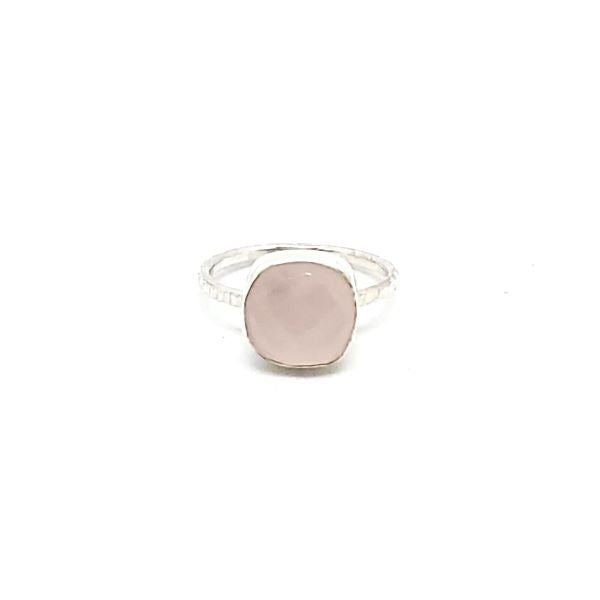 Faceted Pink Chalcedony Stacker Ring