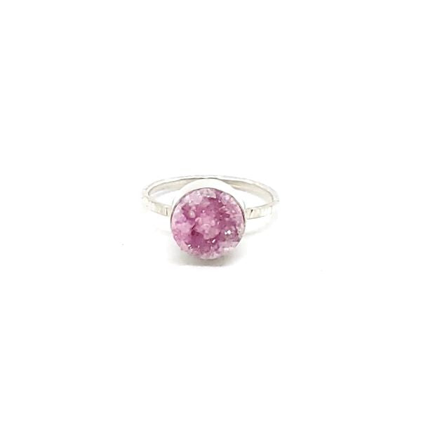 Pink Druzy Quartz Stacker Ring