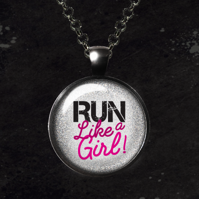 Run Like a Girl Glass Pendant Necklace