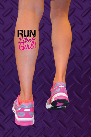 RUN like a girl! Temporary Running Tattoo