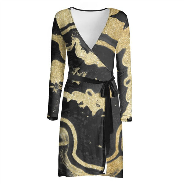 Siren Crystal Marbelized Wrap Dress