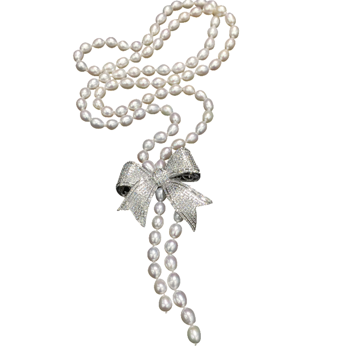 Audrey | Ladylike 7-8MM Fresh Water Pearl Crystal Bow Necklace