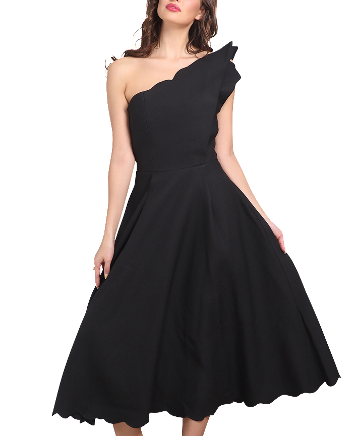 Carrie l Luxury Asymmetric Black Swing Dress