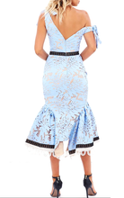 Catherina Azure Luxe Lace Belted Trumpet Dress