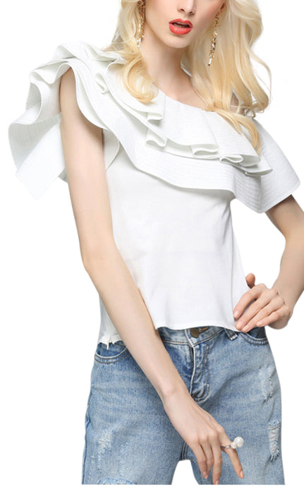 Chantal | Elegant Ruffle Sleeve Strapless Blouse