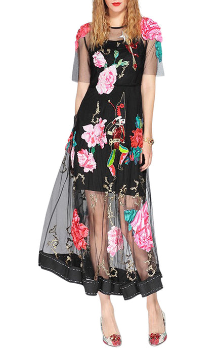 Christiana | Luxury Hand Embroidered Floral Dress