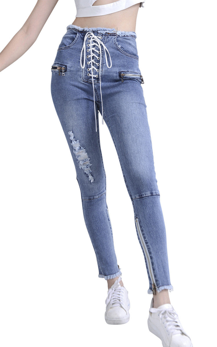 Claudette | Rodeo Lace-up SKinny Jeans